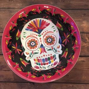 Sugar Skull Plastic Serving Bowl Halloween NEW
